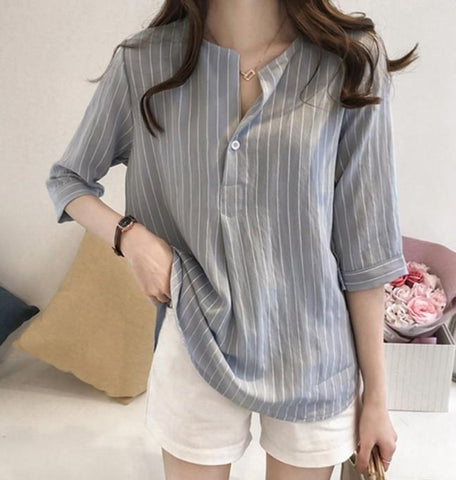 Womens One Button Stripe Shirt
