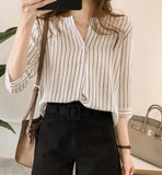 Womens Split Neck One Button Stripe Shirt