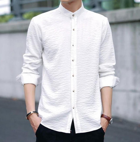 Mens Stand Collar Button Front Shirt