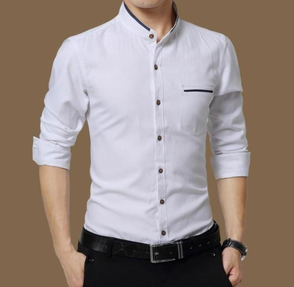 Mens Band Collar Long Sleeve Button Front Shirt