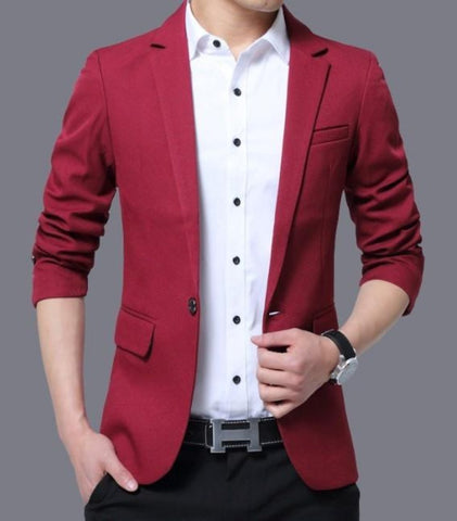 Mens Slim Fit One Button Blazer