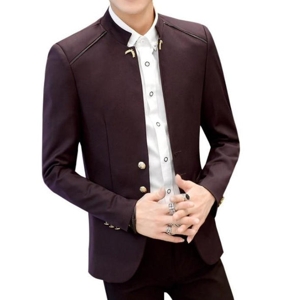 Mens Slim Fit Stand Collar Blazer