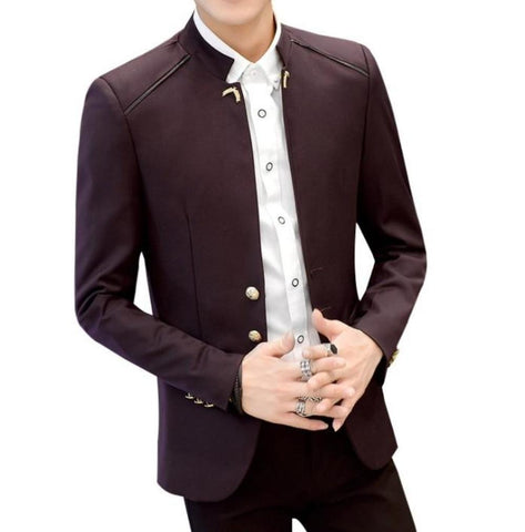 Mens Band Collar Slim Fit Blazer