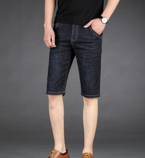 Mens Black Knee Length Slim Fit Denim Shorts