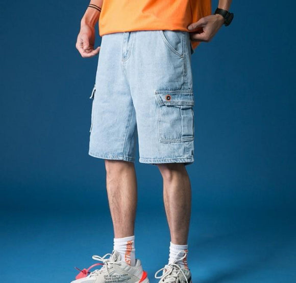 Mens Casual Cargo Denim Shorts