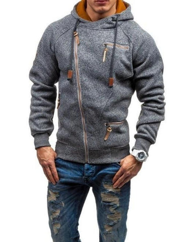 Mens Zip Up Hoodie with Zipper Details