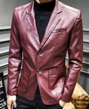 mens burgundy faux leather vegan friendly two button street style blazer