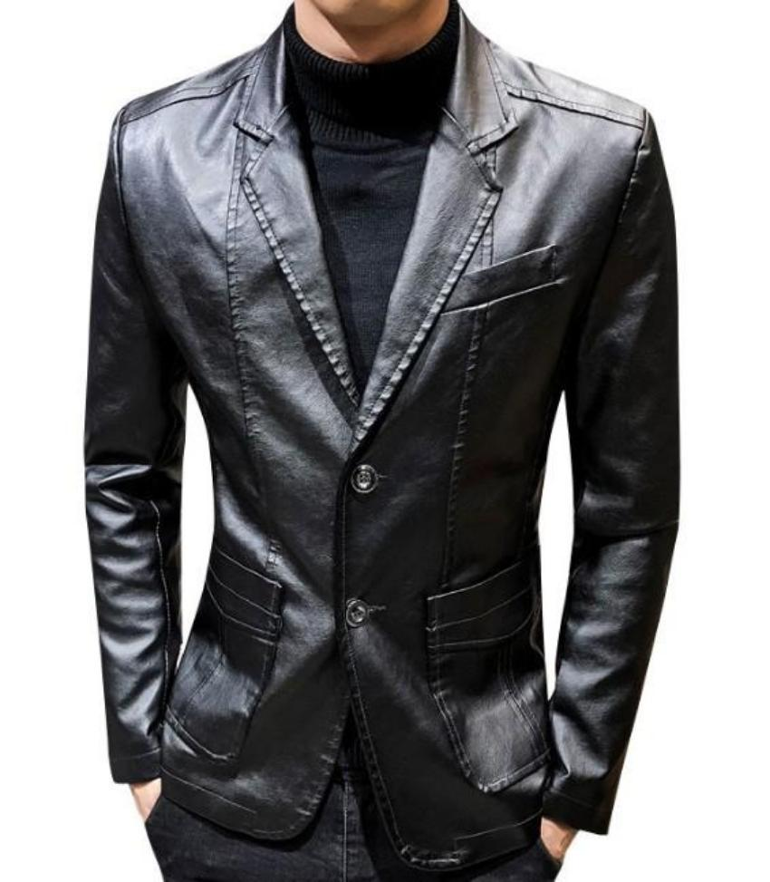 Mens Faux Leather Two Button Blazer