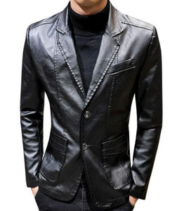 mens  black faux leather vegan friendly two button street style blazer