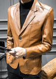 mens brown faux leather vegan friendly two button street style blazer