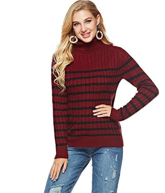 Womens red with black stripes acrylic blend long sleeve turtleneck sweater - AmtifyDirect