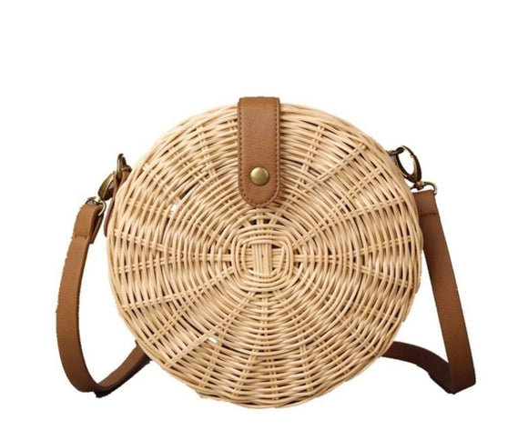 Wicker Straw Round Shoulder Bag