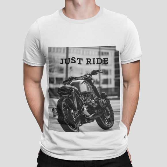 mens white cotton motorcycle graphic tee shirt - AmtifyDirect