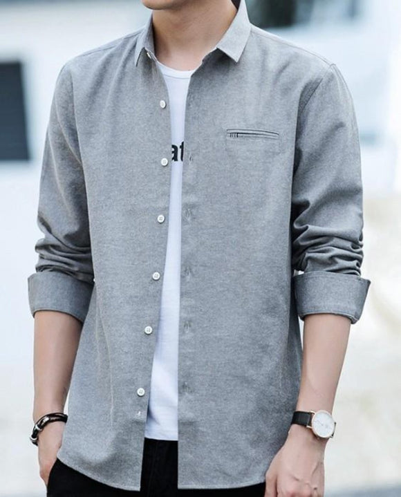 Mens Untucked Slim Fit Long Sleeve Shirt