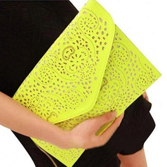Vegan Leather Laser Cut Clutch
