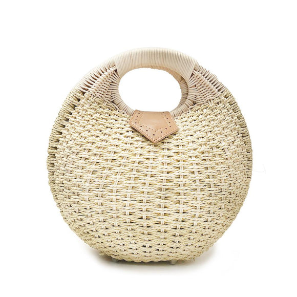 Round Wicker Top Handle Bag
