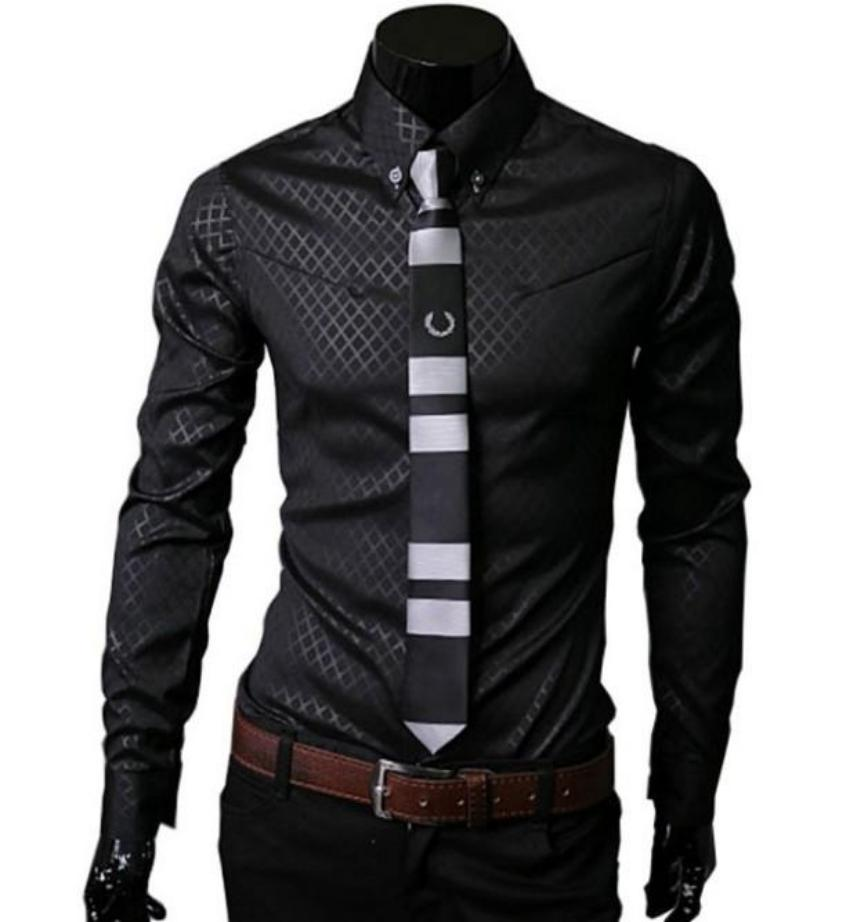 mens black cotton blend/polyester button down jacquard shirt