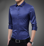 Mens Shirt with Embroidered Collar