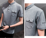 Mens Short Collar Shirt Short Sleeve Polo