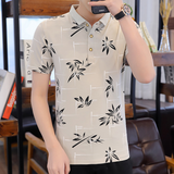 Mens Short Collar Floral Polo