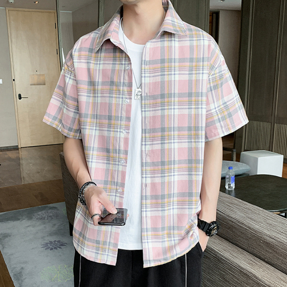 Mens Casual Short Sleeve Plaid Shirt