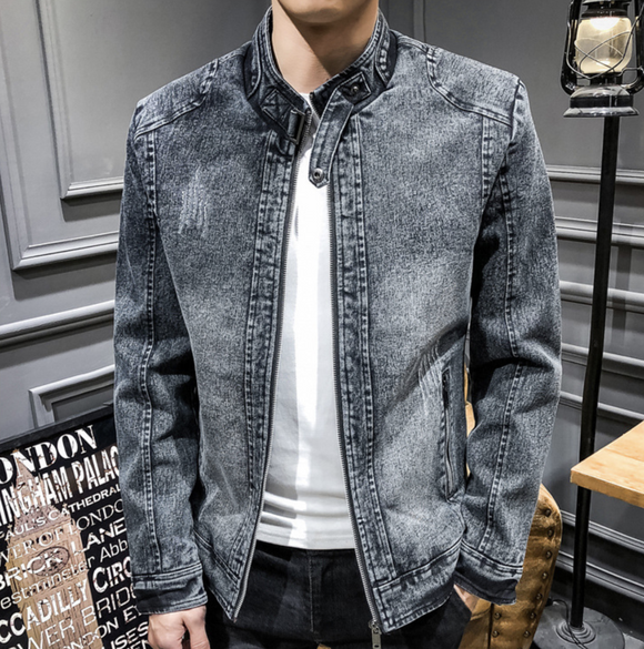 Mens Denim Biker Jacket