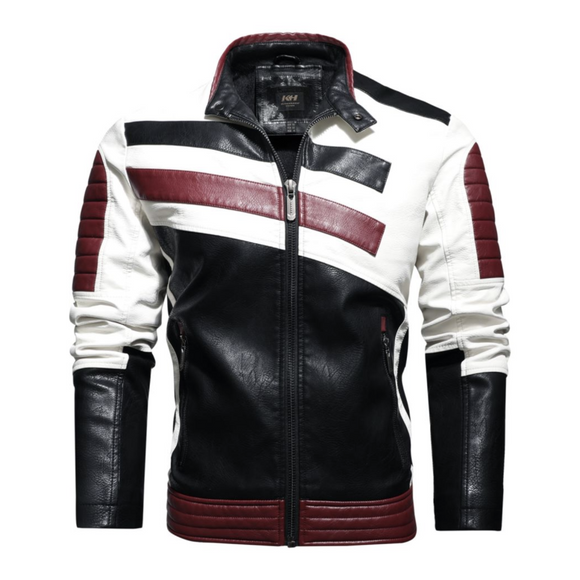 Mens Striped Biker Vegan Leather Jacket