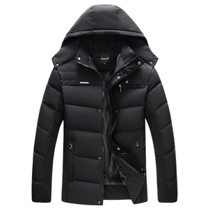 Mens Winter Zipper Coat with Detachable Hood