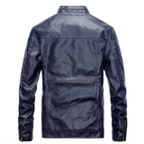 Mens Stand Collar Faux Leather Biker Jacket