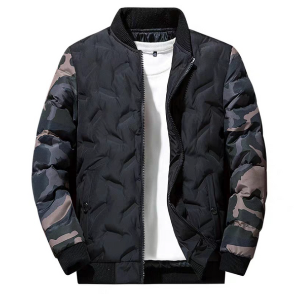 Mens Camouflage Puffer Bomber Jacket