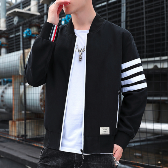 Mens Bomber Jacket With Striped Sleeves