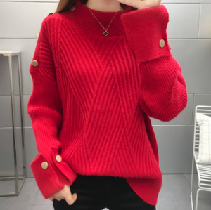 Womens High Collar Sweater with Button Details