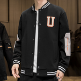 Mens Letterman Jacket with Elbow Patches