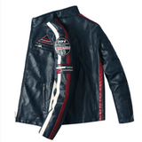Mens Motorcycle Vegan Leather Jacket With Badges