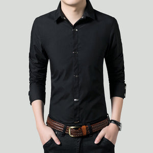 SALE Mens black slim fit Button Down Shirt with Vertical Snap Buttons - AmtifyDirect
