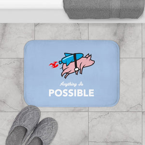 Anything is Possible Flying Pig with Rocket Bath Mat