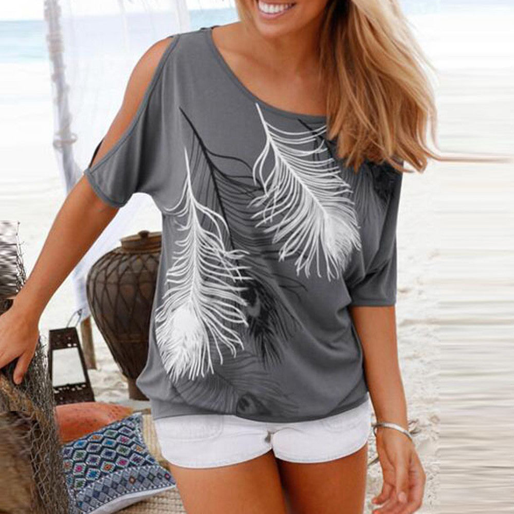 Gray Cut Out Shoulder Top with Feather Prints - AmtifyDirect