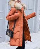 Womens Winter Puffer Coat with Faux Fur Hood