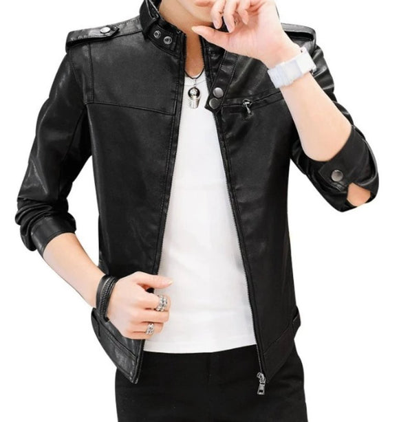 mens black faux leather vegan friendly motorcycle jacket - AmtifyDirect
