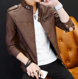 mens brown faux leather vegan friendly motorcycle jacket - AmtifyDirect