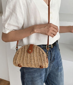 Crossbody Oval Straw Bag