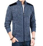 Mens Mixed-Media Zip-Up Cardigan - AmtifyDirect