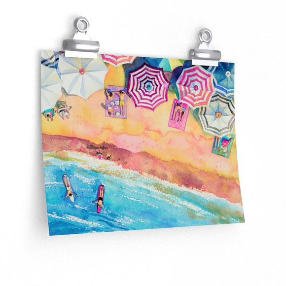 Colorful Day at the Beach Premium Matte horizontal posters - 5 Sizes