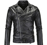 Mens Black PU Leather Biker Jacket with Zipper Detail - AmtifyDirect
