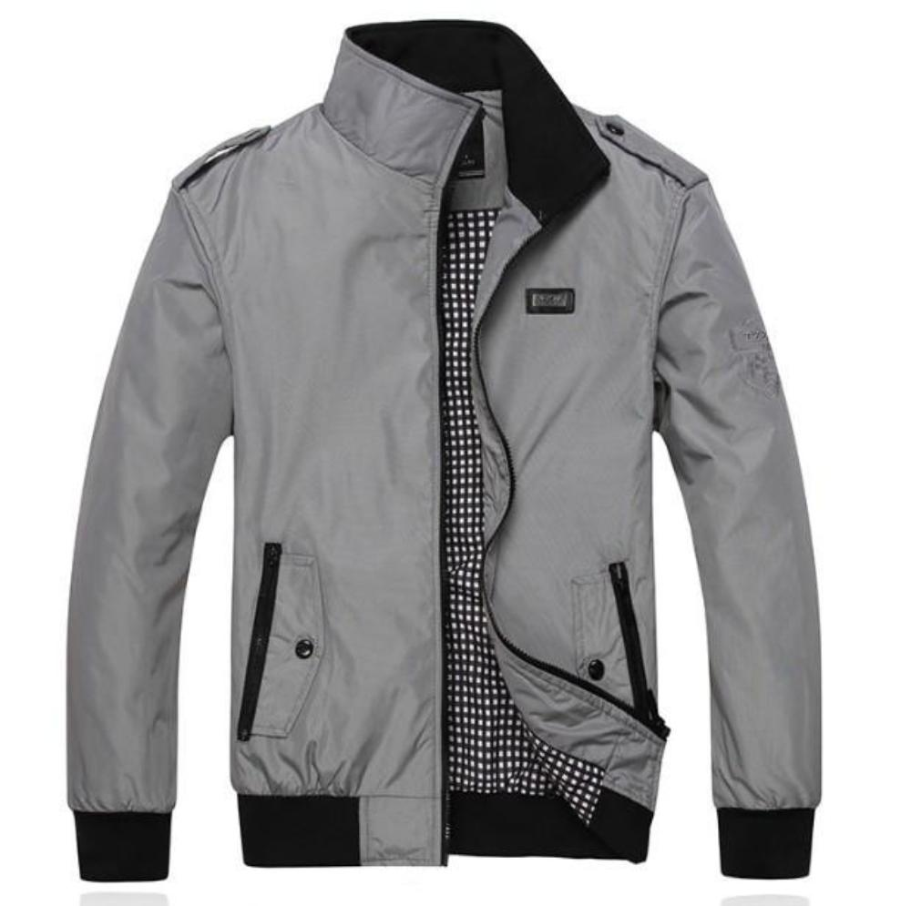 Mens Casual Daily Zipper Stand Collar Jacket