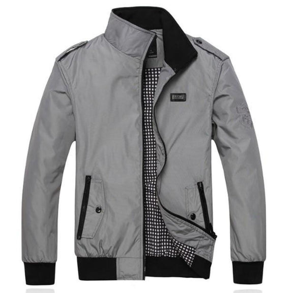 Mens Casual Daily Zipper Stand Collar Jacket - AmtifyDirect