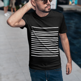 Mens T-Shirt with Black Graphic Lines