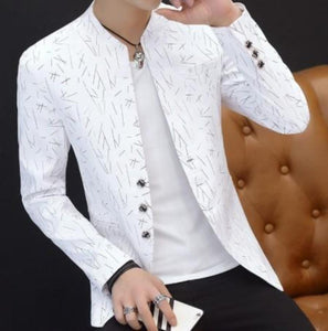 mens white with print polyester cotton round collar blazer