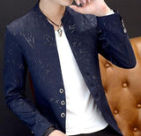 mens navy with print polyester cotton round collar trendy blazer