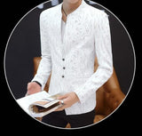 mens white with print polyester cotton round collar trendy blazer